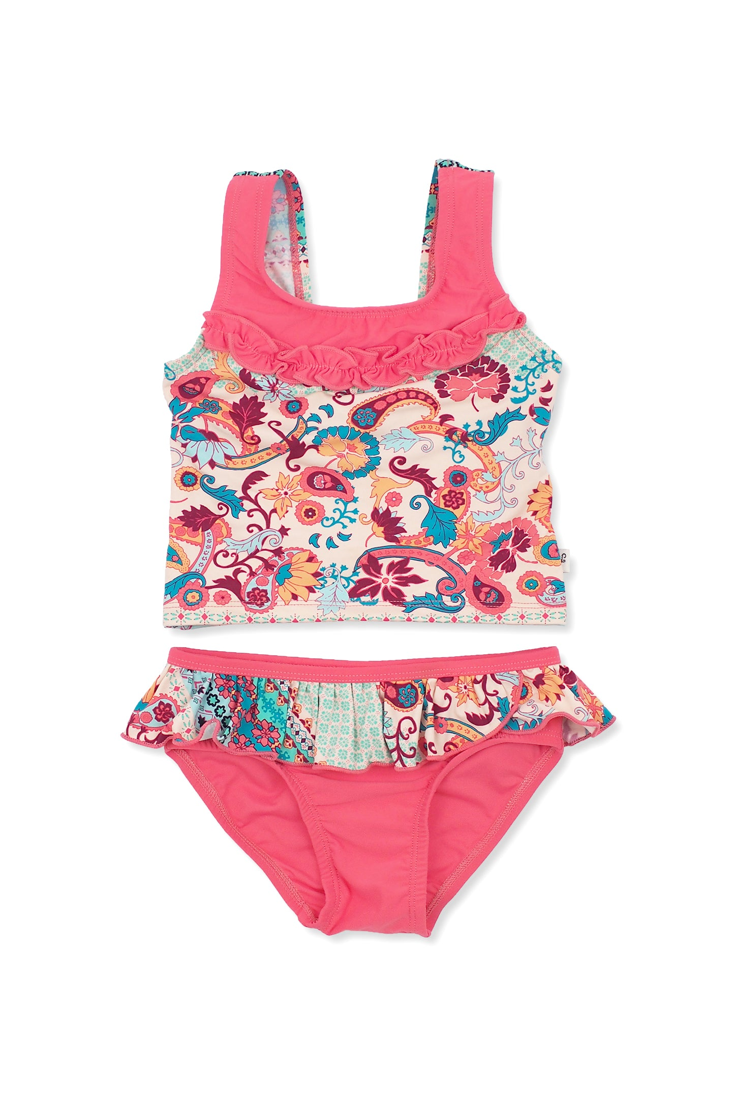 Paisley Border Scoop-back Tankini Set, coral