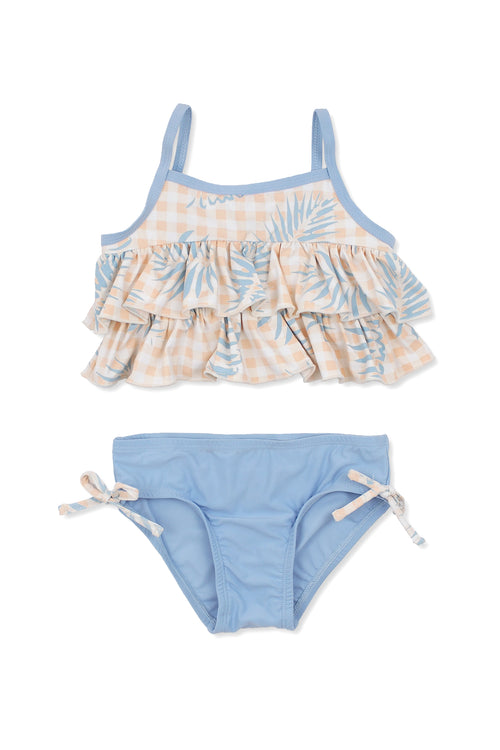 Palms on Gingham Tiered Tankini Set, slate