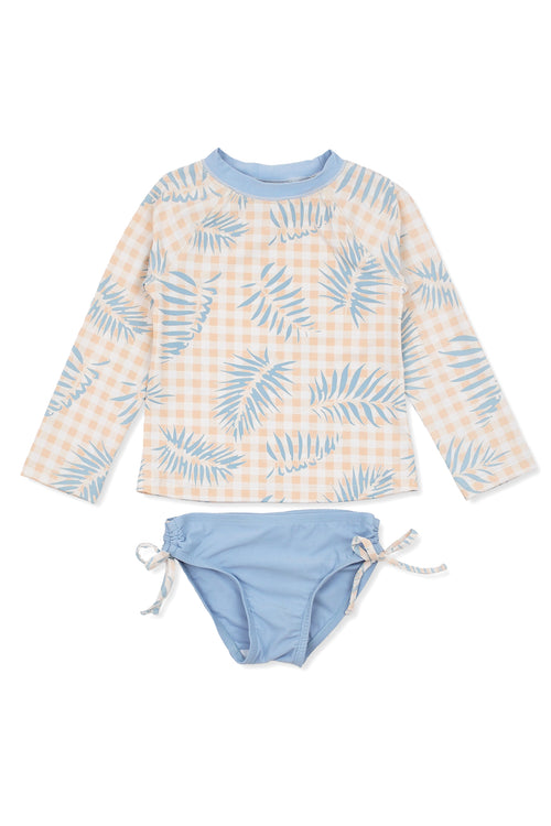 Palms on Gingham Raglan Long Sleeve Rash Guard Set, slate