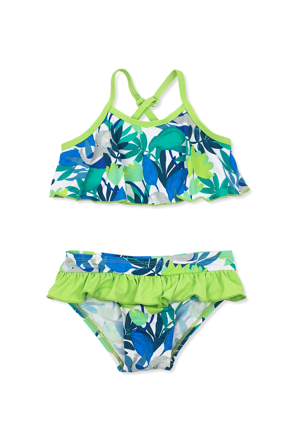 Forest Elephants Flounce Bikini Set, lime