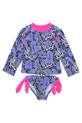 Zebras One-shoulder One-piece, lavender