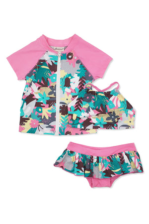 Camo Floral Crop Bikini & Short Sleeve Rash Guard  3pc Set, pink