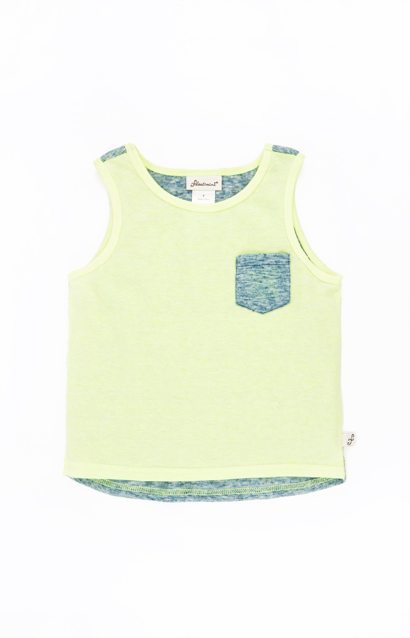 Sleeveless Color Block Pocket T-shirt, LIME