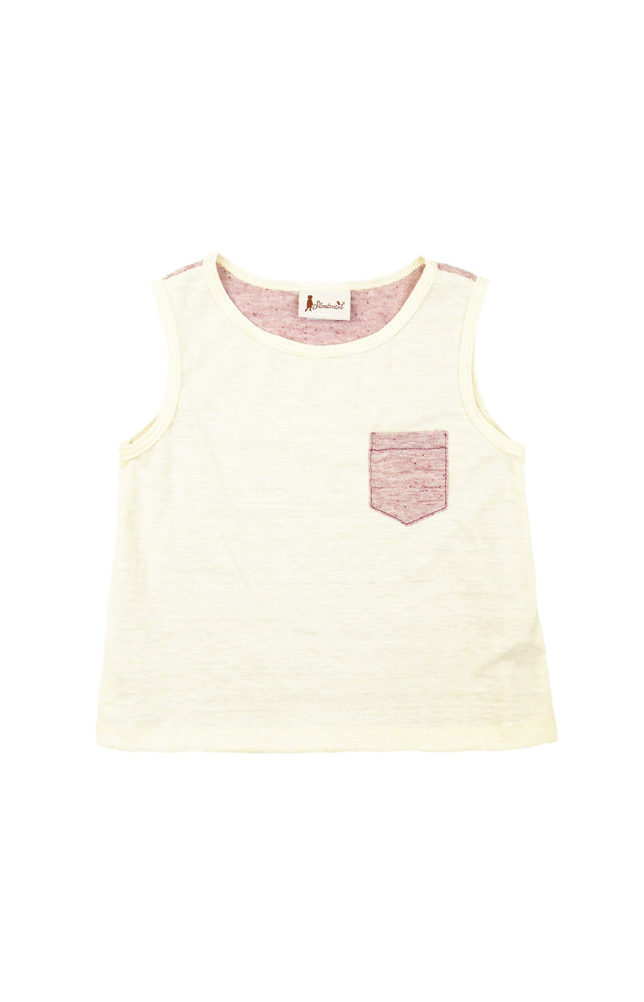 Sleeveless Color Block Pocket T-shirt, TUSK