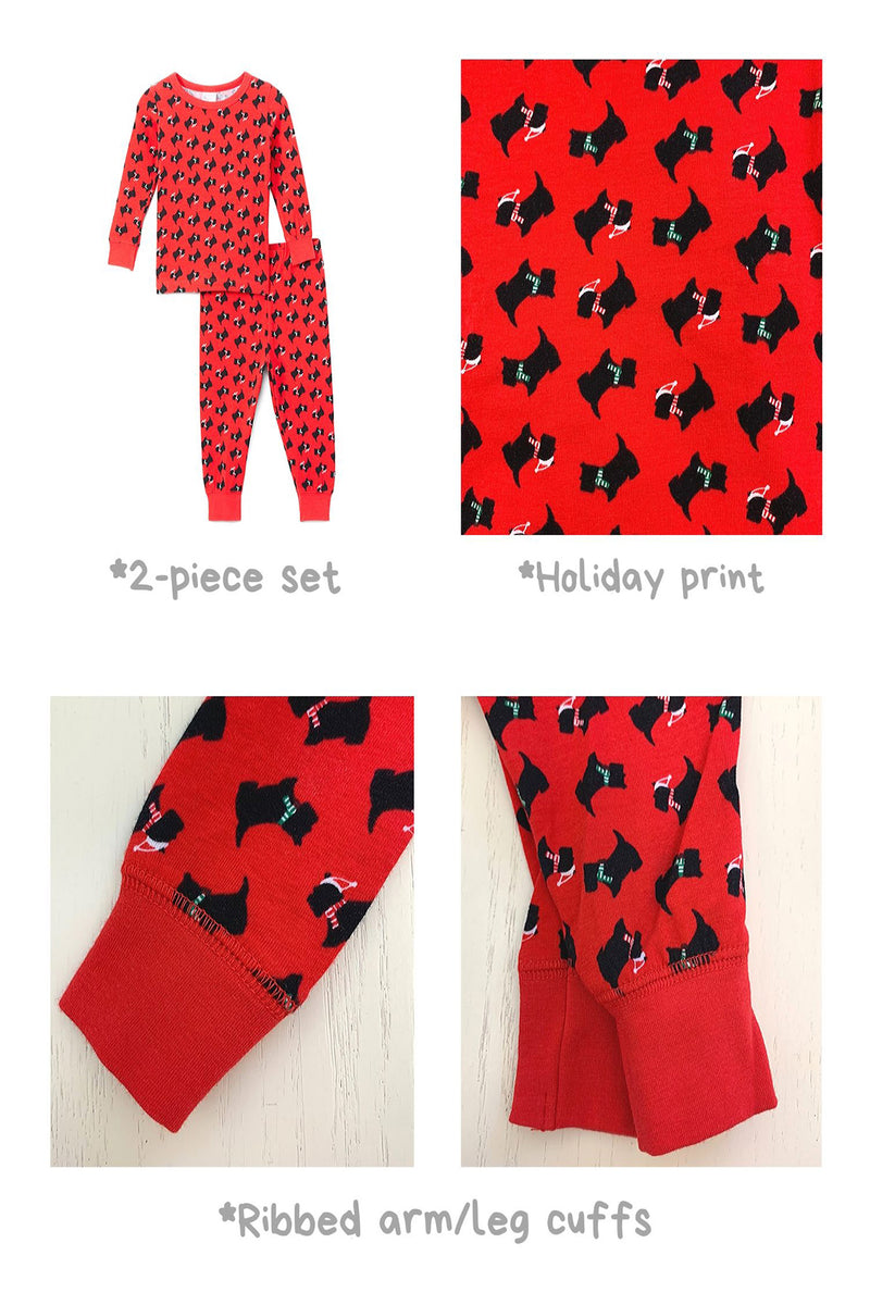 Sleepimini Scottish Terrier Long-Sleeve Pajama Set, Red