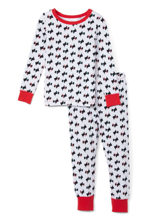 Sleepimini Scottish Terrier Long-Sleeve Pajama Set, White