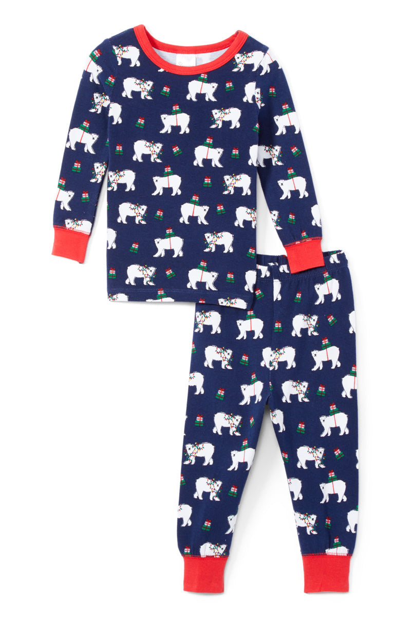 Sleepimini Christmas Bear Long-Sleeve Pajama Set, Navy