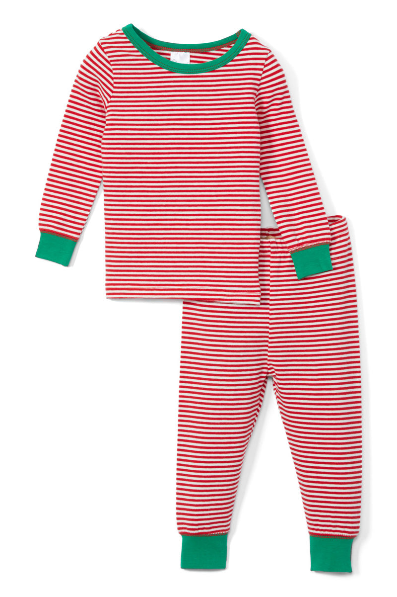 Sleepimini Christmas Stripes Long-Sleeve Pajama Set, Red