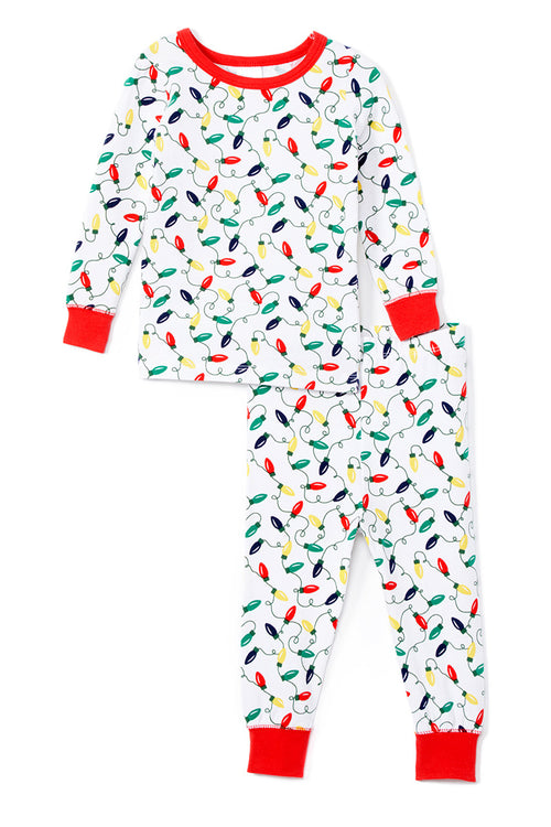 Sleepimini Christmas Light Long-Sleeve Pajama Set, White