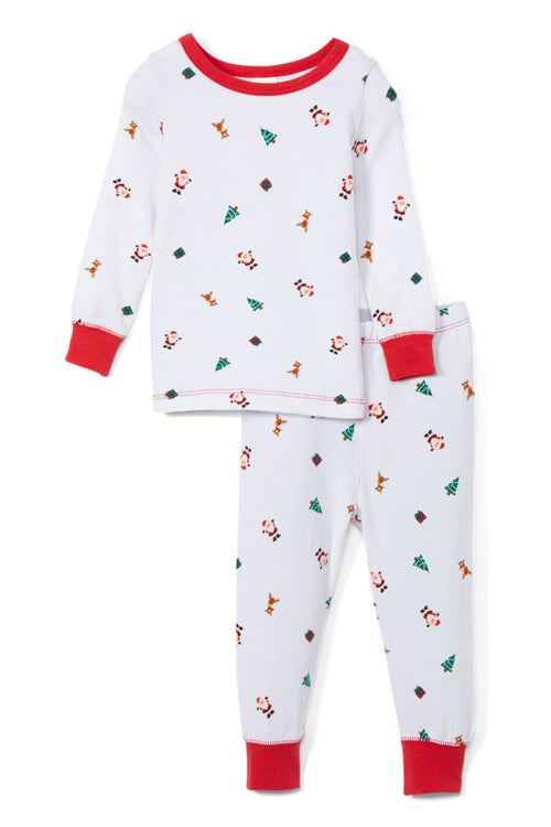 Sleepimini Santa Long-Sleeve Pajama Set, White