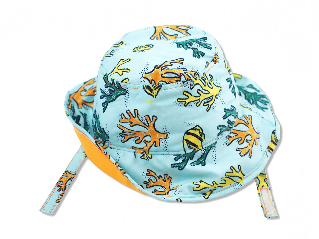 Coral Reef Sun Protective Bucket Hat, Orange