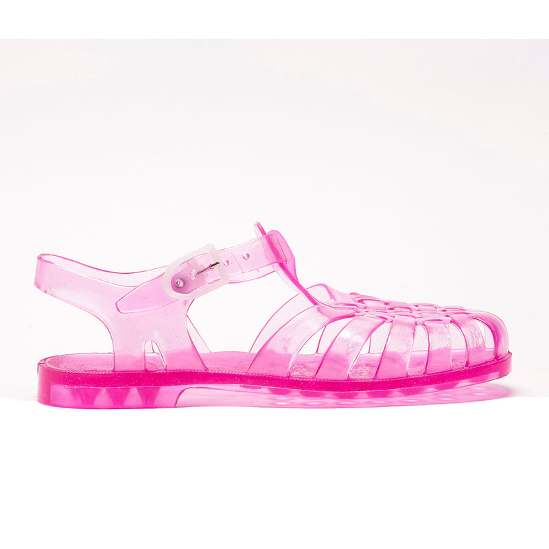 Jelly Beach Sandals, Pink Glitter