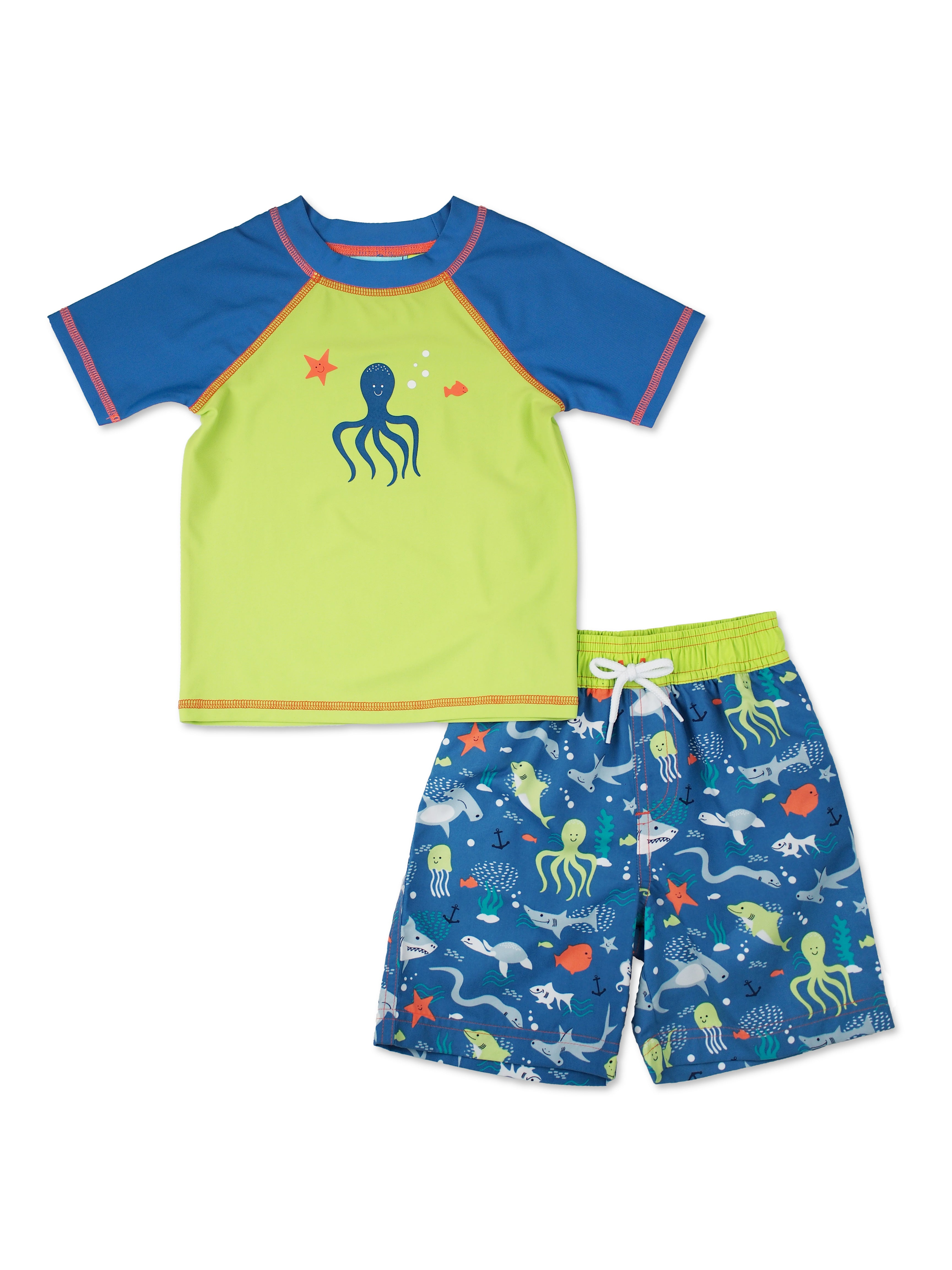 Boys Octopus Short Sleeve Rash Guard & Swim Trucks Set, Lime