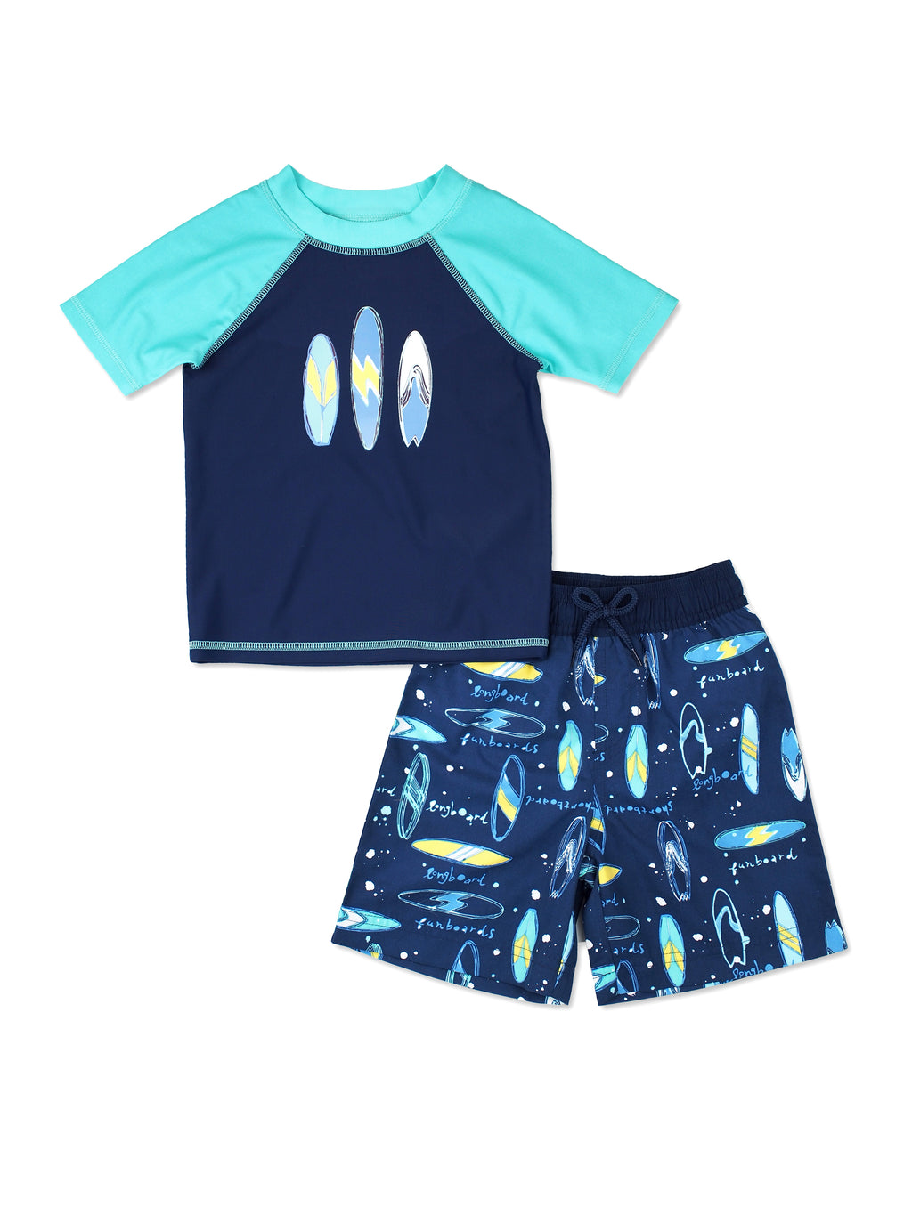 Boys Surfboard Short Sleeve Rash Guard & Swim Trunks Set, Navy