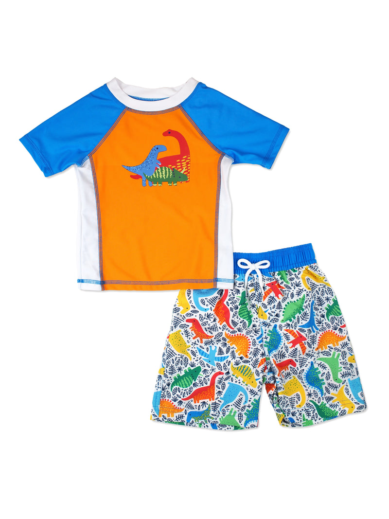 Boys Dino Short Sleeve Rash Guard & Swim Trunks Set, Orange