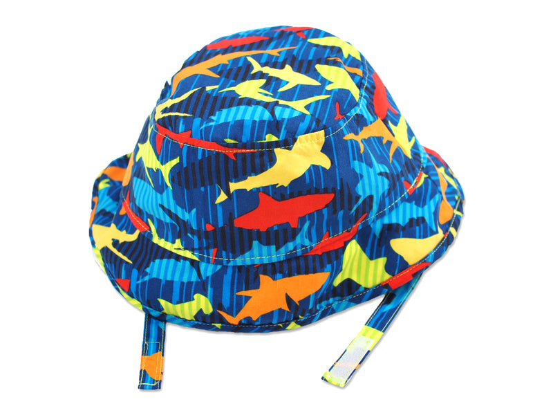 Stripe Shark Sun Protective Bucket Hat, Lime