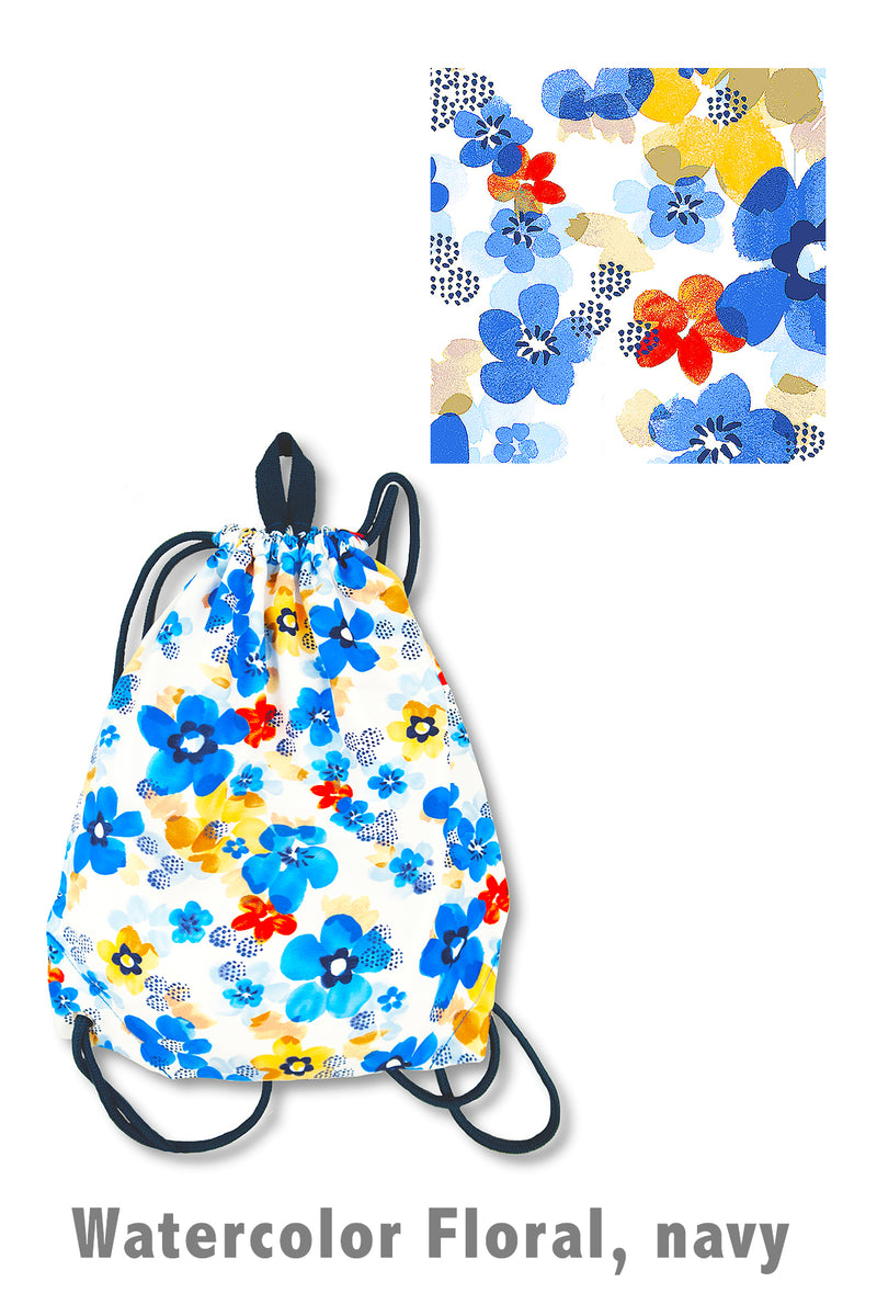 Watercolor Floral Drawstring Bag, navy