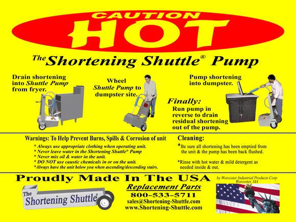 SS-HOT-LB Safety Labels Kit; for The Shortening Shuttle® Waste Oil Carrier/SDU