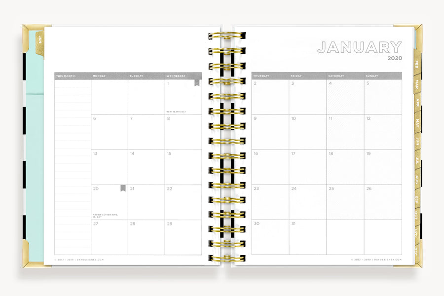January 2020 Mini Daily Planner: Black Stripe