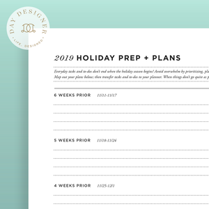 2019 Holiday Prep + Plans