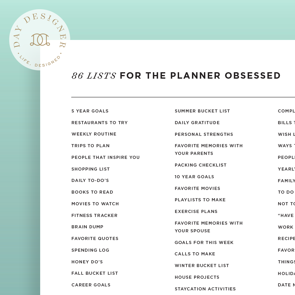 86 lists for the planner obsessed day designer