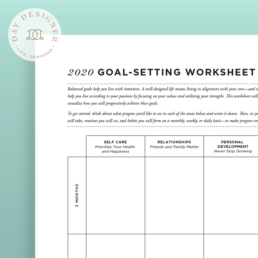 2020 Goal Setting Worksheet