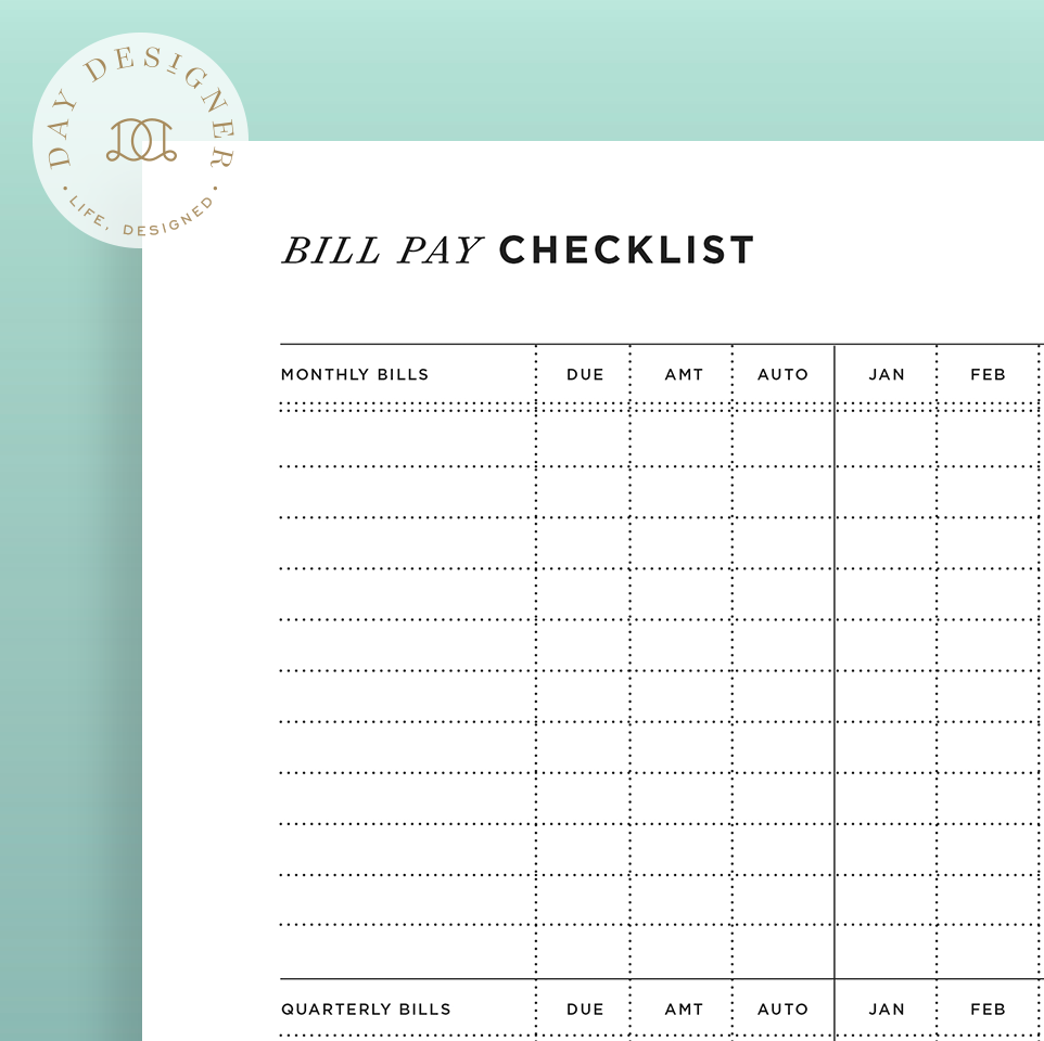 bill pay checklist day designer