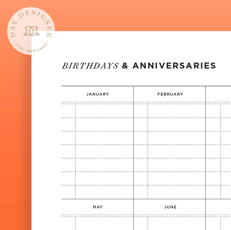 birthday and anniversary calendar  u2013 day designer