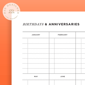 Birthday and Anniversary Calendar