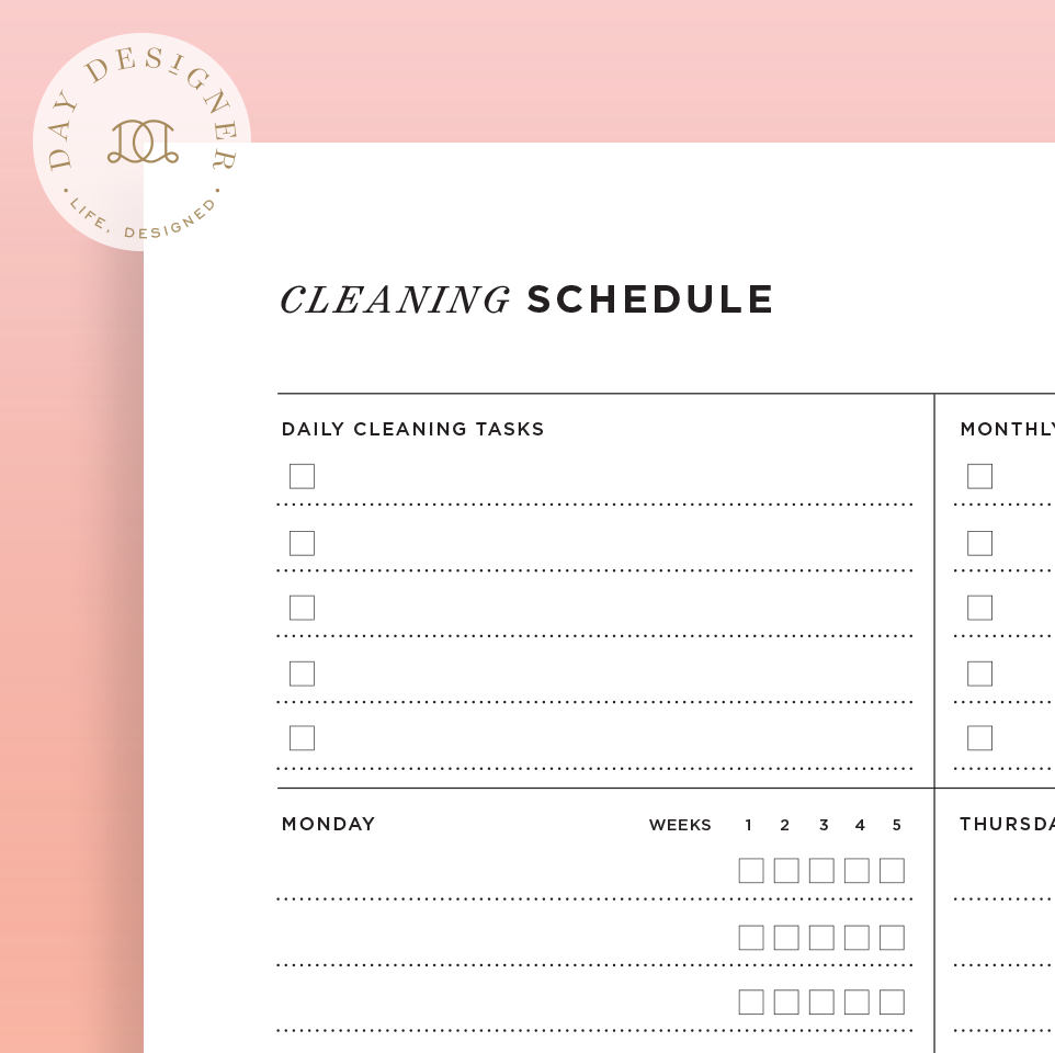 This is a graphic of Printable Cleaning Schedule intended for 7 day house cleaning