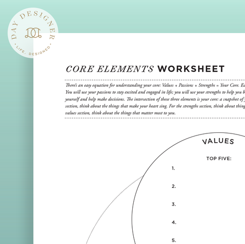 Core Elements Worksheet