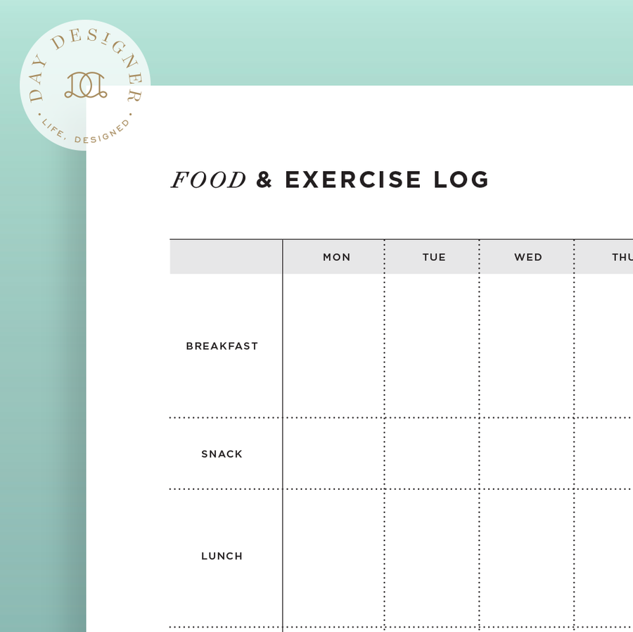 food and exercise log  u2013 day designer