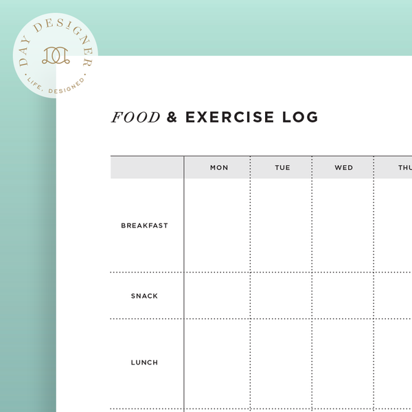 food and exercise log day designer