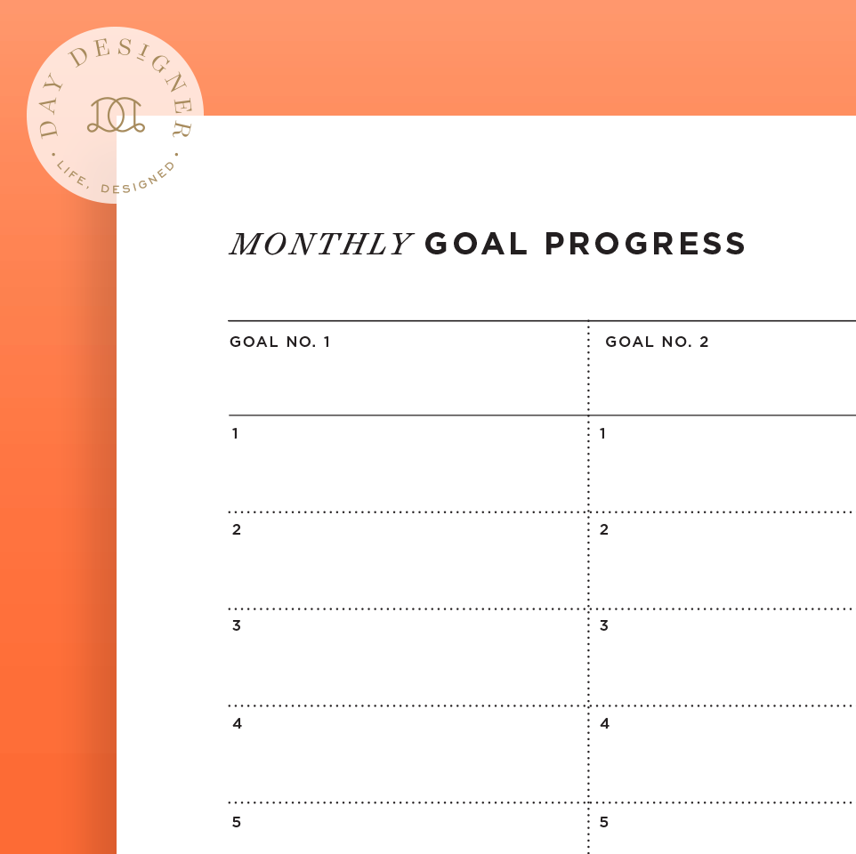 monthly goal tracker day designer
