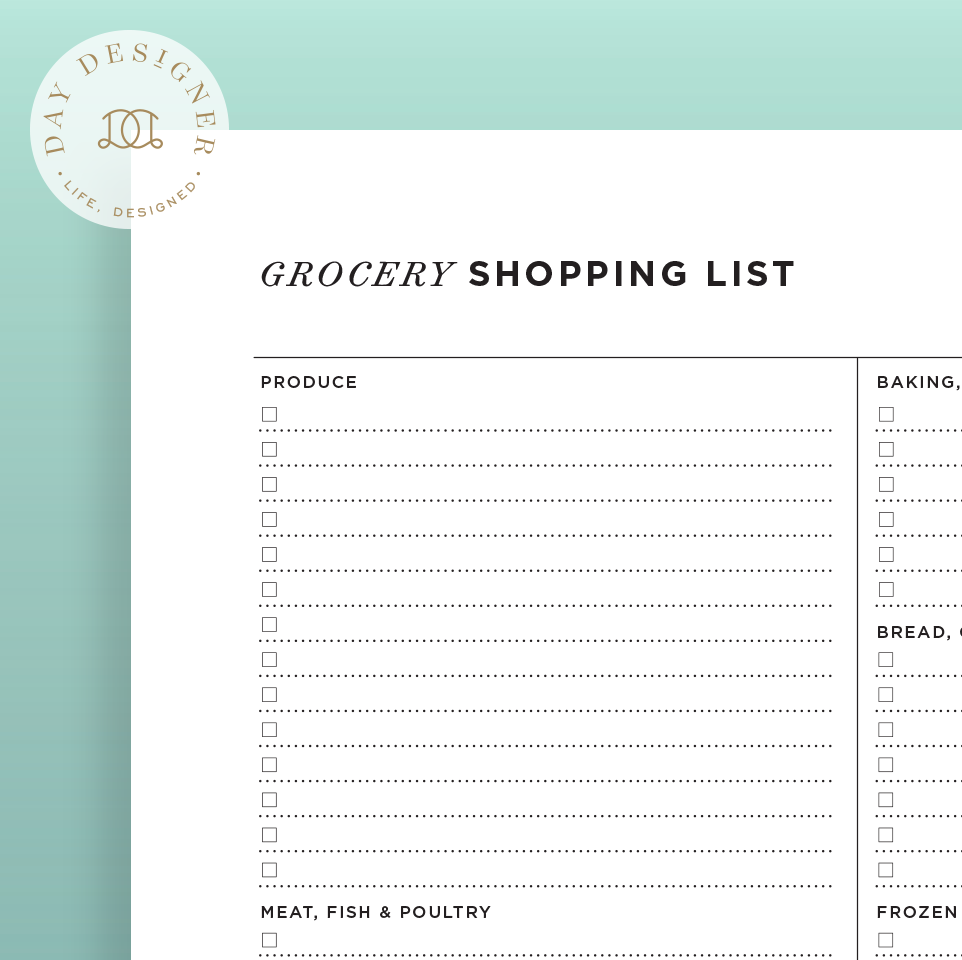 grocery list day designer