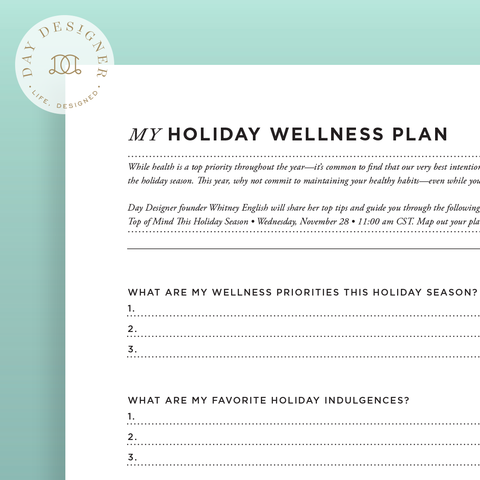 Holiday Wellness Plan