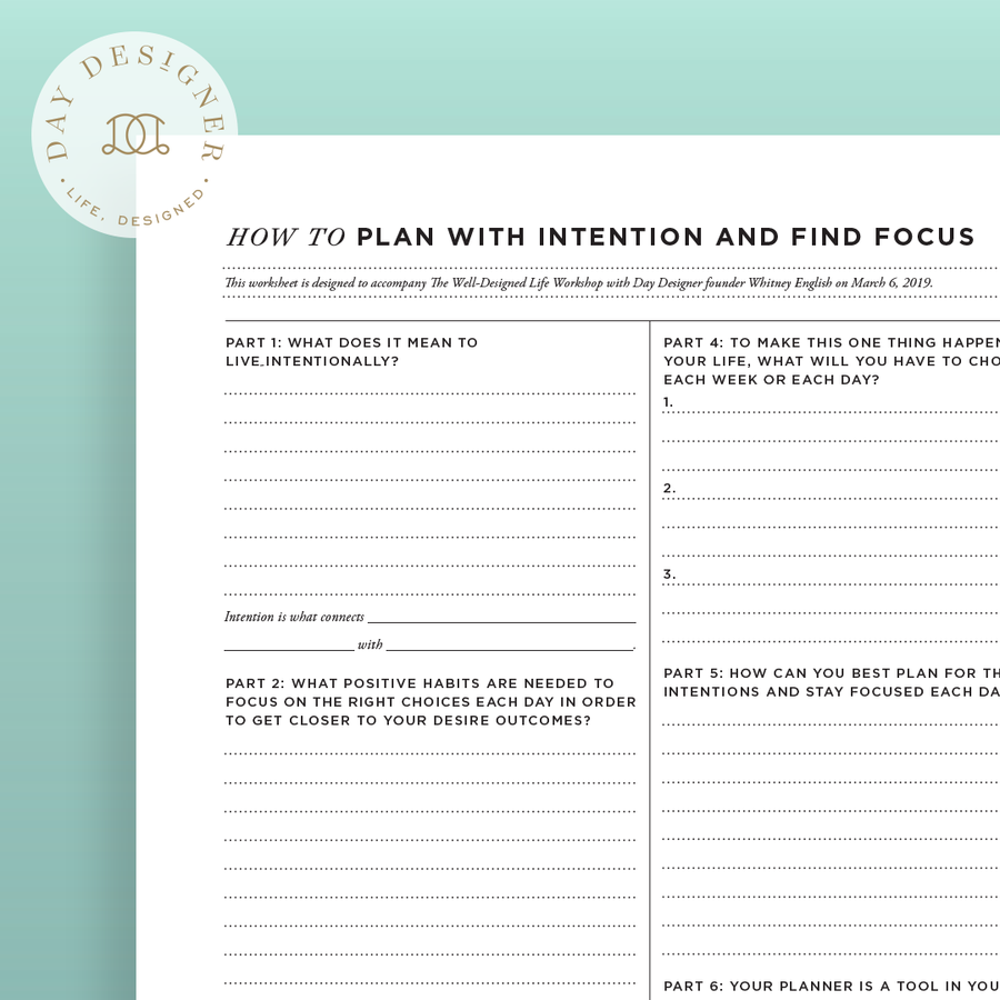 How To Plan with Intention and Find Focus