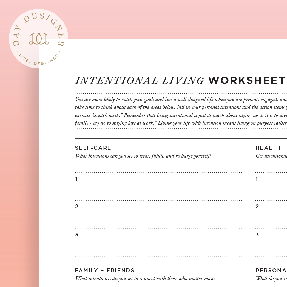 graphic relating to Worksheet Design named Intentional Residing Worksheet