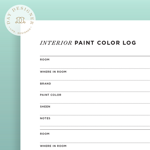 Interior Paint Color Log