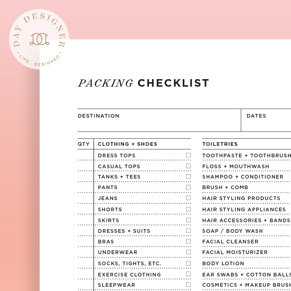 Packing Checklist Day Designer