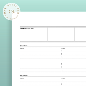 image about Free A5 Planner Printables titled Printables Working day Designer