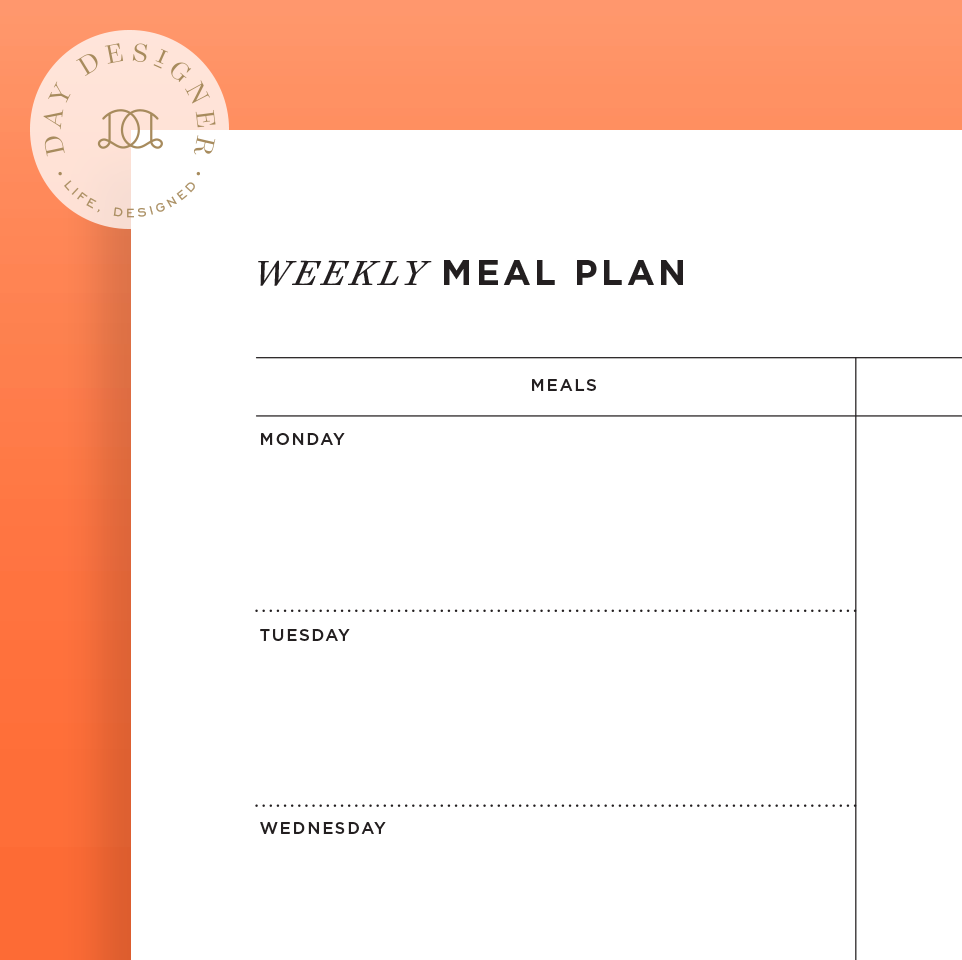 weekly meal planner printable  u2013 day designer