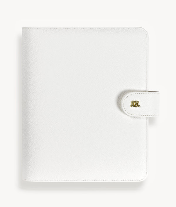 A5 Vegan Leather Binder: White Pebble