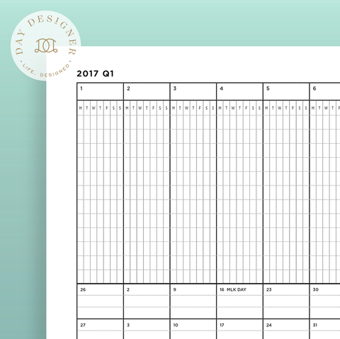2017 Yearly Planner: A Page for Each Quarter