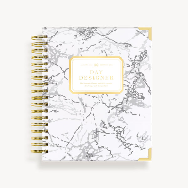 2021 Daily Planner: White Marble