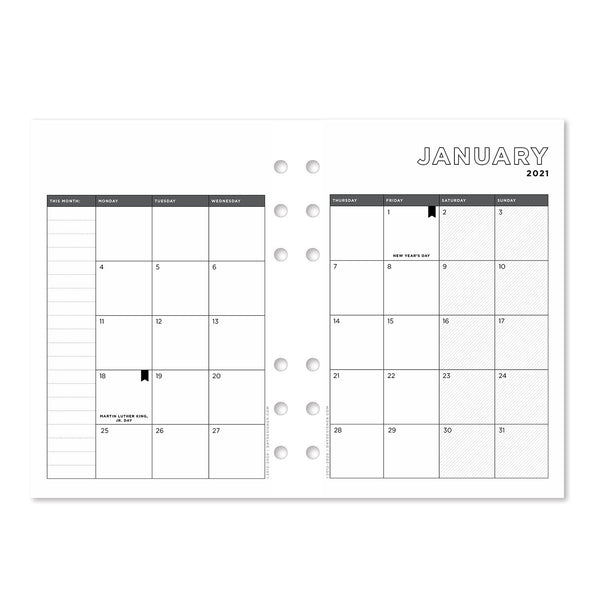 A5 Supplement Pack: 2021 Monthly Calendar