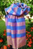 New! pure raw silk, thick stripes