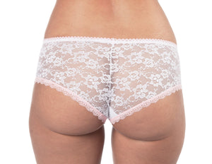Lace Hipster Boy Shorts in White