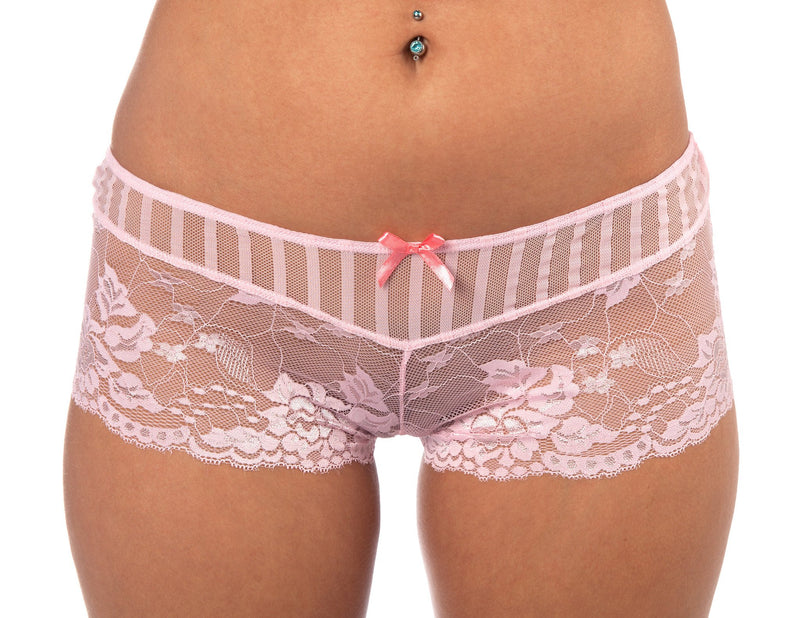 Lace Affair Boy Shorts in Pink