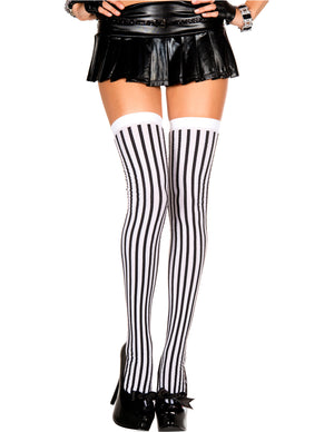 White and Black Thigh Hi Striped, One Size